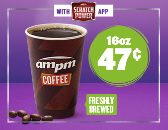 Scratch Power<sup>®</sup> and Sip, Image of a coffee. Get a sixteen ounce coffee for just forty-seven cents, only with the Scratch Power app.
