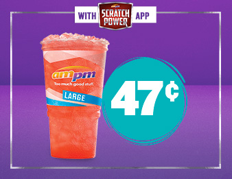 Drink in the deals, Image of a large fountain drink. Get a large for just 47¢, only with the Scratch Power app.