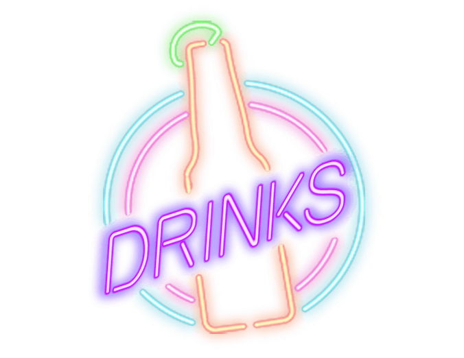 Neon sign of a beer bottle with a lime on the top. The word drinks is written over it.