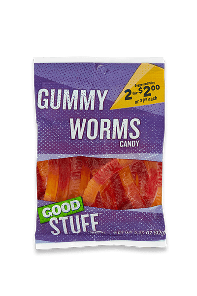 Image of a m p m gummy worms candy.