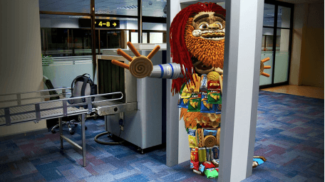 Toomgis is stuck in airport metal detector
